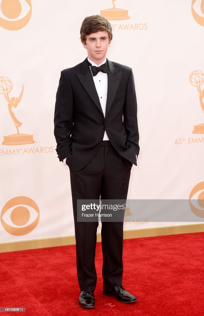 Actor Freddie Highmore arrives at the 65th Annual Primetime Emmy Awards held at Nokia Theatre LA Live on September 22 2013 in Los Angeles California