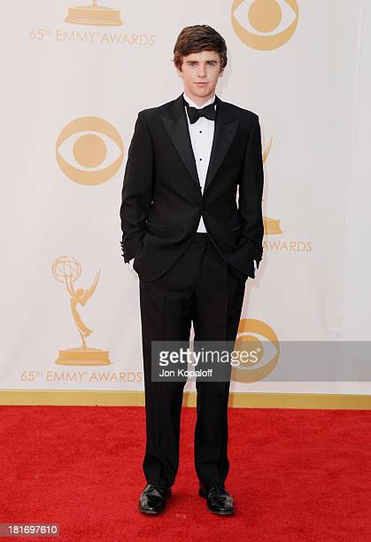 Actor Freddie Highmore arrives at the 65th Annual Primetime Emmy Awards at Nokia Theatre LA Live on September 22 2013 in Los Angeles California