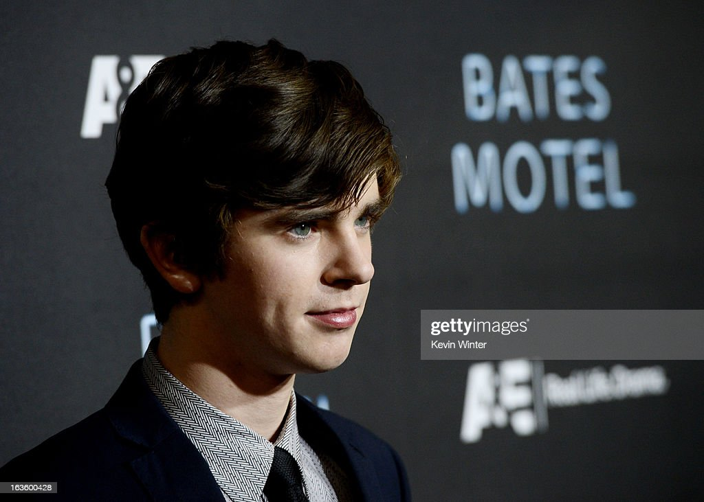 Actor Freddie Highmore arrives at the premiere of A&E Network's 'Bates Motel' at Soho House on March 12, 2013 in West Hollywood, California.