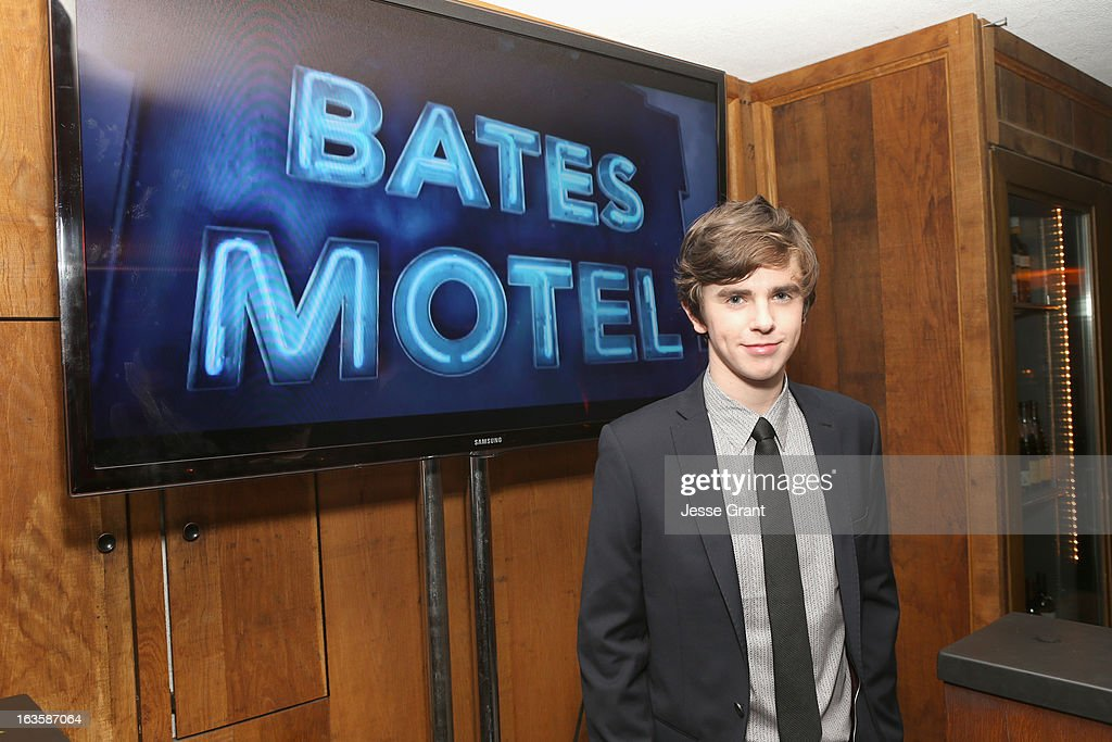 Actor <a gi-track='captionPersonalityLinkClicked' href=/galleries/search?phrase=Freddie+Highmore&family=editorial&specificpeople=210834 ng-click='$event.stopPropagation()'>Freddie Highmore</a> attends A&E's 'Bates Motel' Premiere Party on March 12, 2013 in West Hollywood, California.