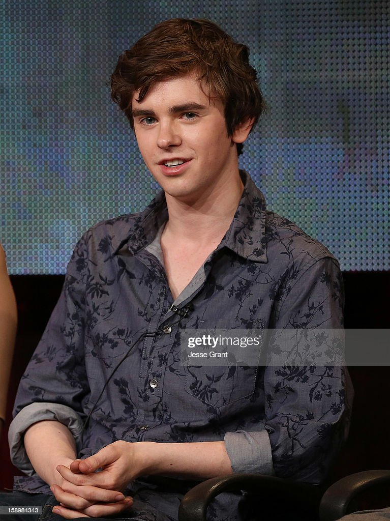 Actor Freddie Highmore attends A&E's 'Bates Motel' TCA Panel at the Langham Hotel on January 4, 2013 in Pasadena, California.