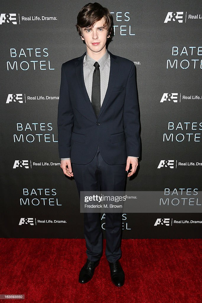 Actor <a gi-track='captionPersonalityLinkClicked' href=/galleries/search?phrase=Freddie+Highmore&family=editorial&specificpeople=210834 ng-click='$event.stopPropagation()'>Freddie Highmore</a> attends the Premiere of A&E Network's 'Bates Motel' at the Soho House West Hollywood, on March 12, 2013 in West Hollywood, California.