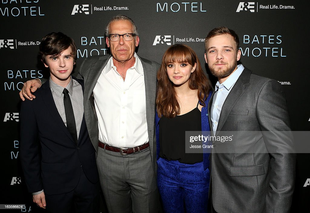 Actor Freddie Highmore, executive producer Carlton Cuse and actors Olivia Cooke and Max Thieriot attend A&E's 'Bates Motel' Premiere Party on March 12, 2013 in West Hollywood, California.