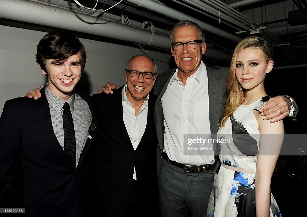 Actor Freddie Highmore, Robert DiBitetto, Senior Vice President, A&E, executive producer Carlton Cuse and actress Nicola Peltz arrive at the premiere of A&E Network's 'Bates Motel' at Soho House on March 12, 2013 in West Hollywood, California.