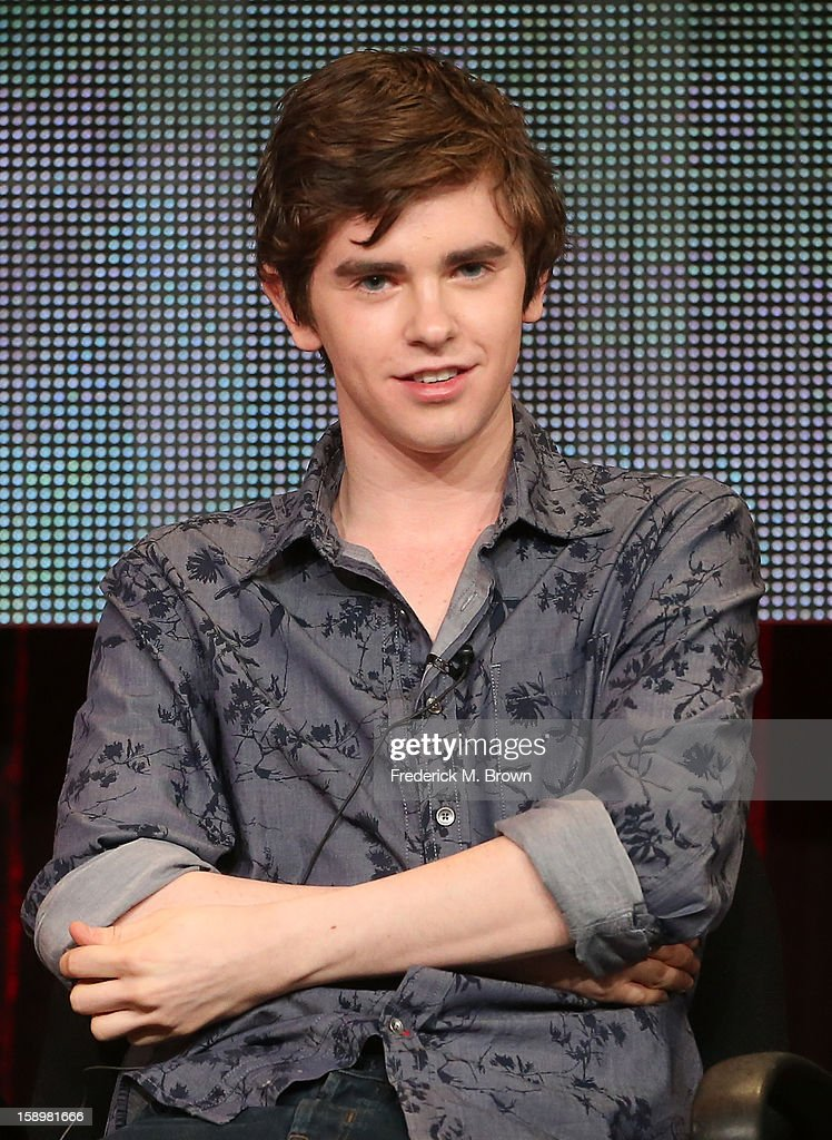 Actor Freddie Highmore speaks onstage during the 'Bates Motel' panel discussion at the A&E Network portion of the 2013 Winter TCA Tourduring 2013 Winter TCA Tour - Day 1 at Langham Hotel on January 4, 2013 in Pasadena, California.
