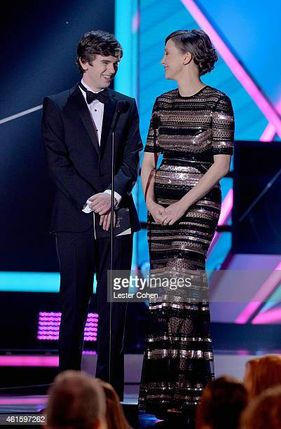 Actor Freddie Hightower and actress Vera Farmiga speak onstage during the 20th annual Critics' Choice Movie Awards at the Hollywood Palladium on...
