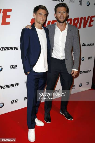 Actor Freddie Thorp and Actor Scott Eastwood attend 'Overdrive' Paris Premiere at Cinema Gaumont Capucine on June 19 2017 in Paris France