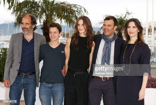 Actor Frederic Pierrot actor Fantin Ravat actress Marine Vacth Director Francois Ozonn and actress Geraldine Pailhasattend the 'Jeune Jolie'...