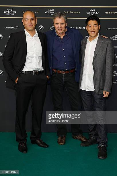Actor Frederic Siuen producer Xavier Grin and actor Francois Yang attend the 'L'ame Du Tigre' Photocall during the 12th Zurich Film Festival on...