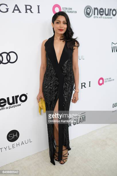 Actor Freida Pinto attends the 25th Annual Elton John AIDS Foundation's Academy Awards Viewing Party at The City of West Hollywood Park on February...