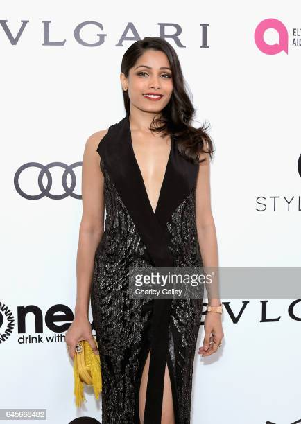 Actor Freida Pinto attends the 25th Annual Elton John AIDS Foundation's Academy Awards Viewing Party with cocktails by Clase Azul Tequila and Chopin...