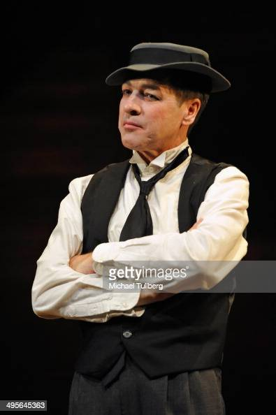 Actor French Stewart talks onstage about his role as Buster Keaton in the play 'Stoneface' at Pasadena Playhouse on June 4 2014 in Pasadena California