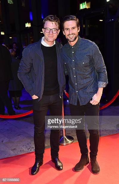 Actor Friedrich Muecke and Tom Beck during the MetropolisDeutscher Regiepreis 2016 at HFF Munich on November 6 2016 in Munich Germany