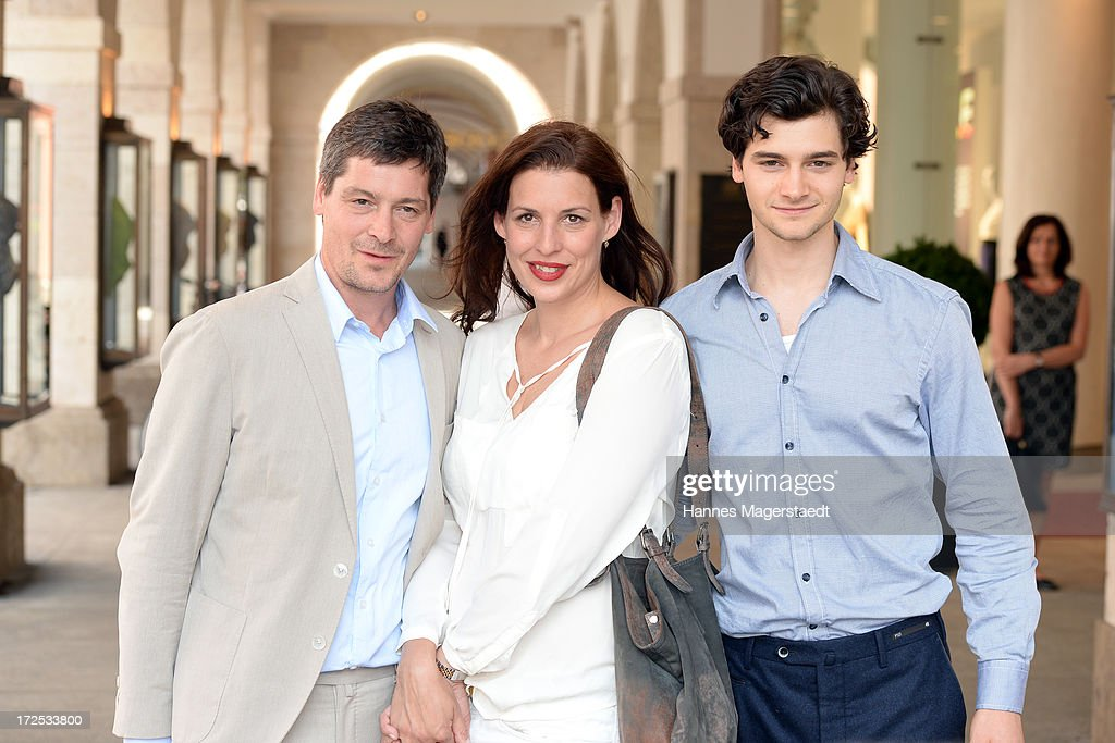 Actor Fritz Karl, Elena Uhlig and Aron Karl attend the ZDF Reception during the Munich Film Festival 2013 at H'ugo's on July 2, 2013 in Munich, Germany.