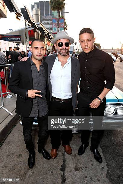 Actor Gabriel Chavarria filmmaker Ricardo de Montreuil and actor Theo Rossi attend the premiere of 'Lowriders' during opening night of the 2016 Los...