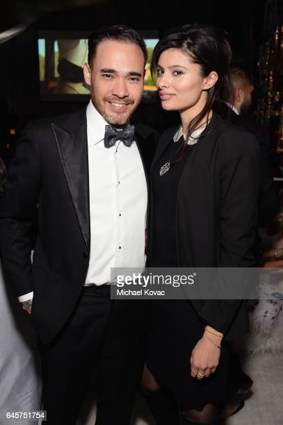 Actor Gabriella Wright and Patrick Lee attend the 25th Annual Elton John AIDS Foundation's Academy Awards Viewing Party at The City of West Hollywood...