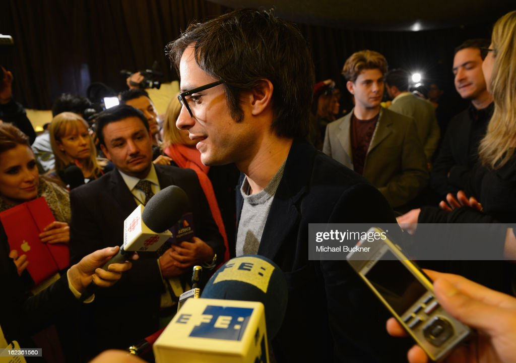 Actor Gael García Bernal of the film 'No,' nominee for the Foreign Language Film Award, speaks to journalists at the Foreign Language Film Award Photo-Op for the 85th Annual Academy Awards at Hollywood & Highland Center on February 22, 2013 in Hollywood, California.