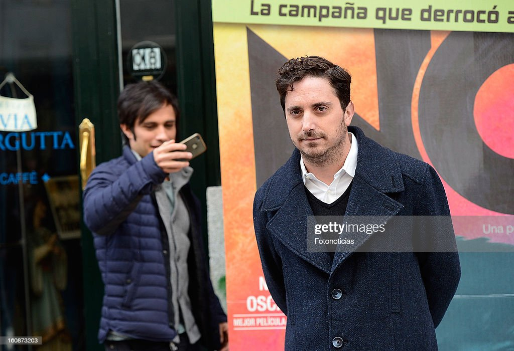 Actor Gael Garcia Bernal (L) and director Pablo Larrain attend a photocall for 'NO' at Golem Cinemas on February 7, 2013 in Madrid, Spain.