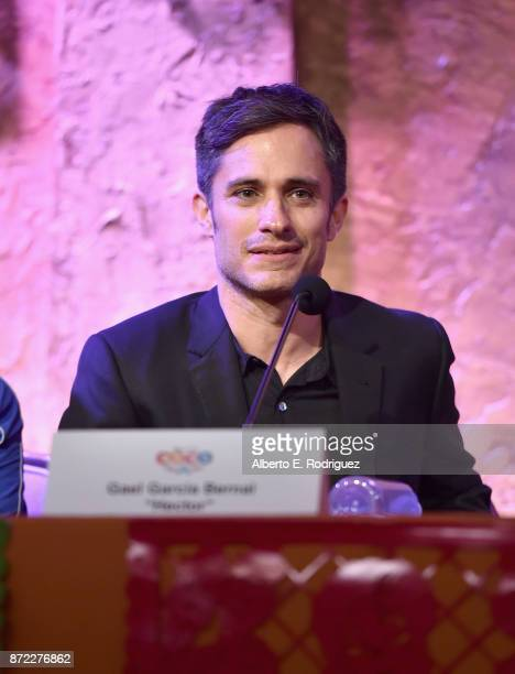 Actor Gael Garcia Bernal at the Global Press Conference for DisneyPixar's 'Coco' at The Beverly Hilton Hotel on November 9 2017 in Beverly Hills...