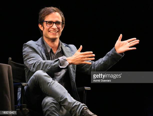Actor Gael Garcia Bernal attends The New Yorker Festival In Conversation Gael Garcia Bernal Talks With Jon Lee Anderson at Florence Gould Hall on...