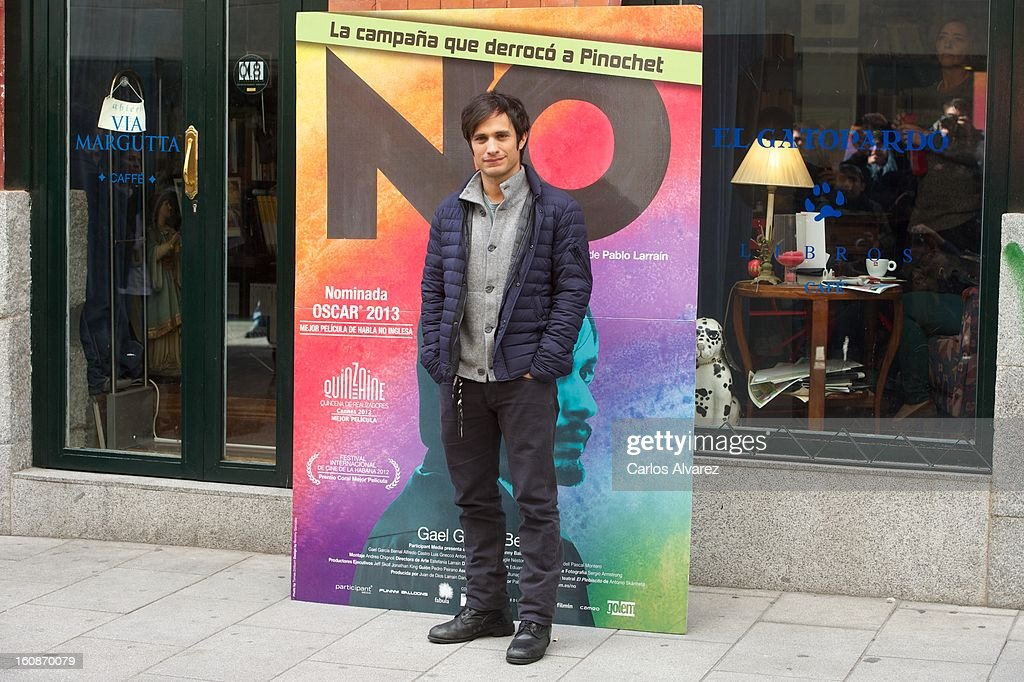 Actor <a gi-track='captionPersonalityLinkClicked' href=/galleries/search?phrase=Gael+Garcia+Bernal&family=editorial&specificpeople=202025 ng-click='$event.stopPropagation()'>Gael Garcia Bernal</a> attends the 'No' photocall at the Golem cinema on February 7, 2013 in Madrid, Spain.