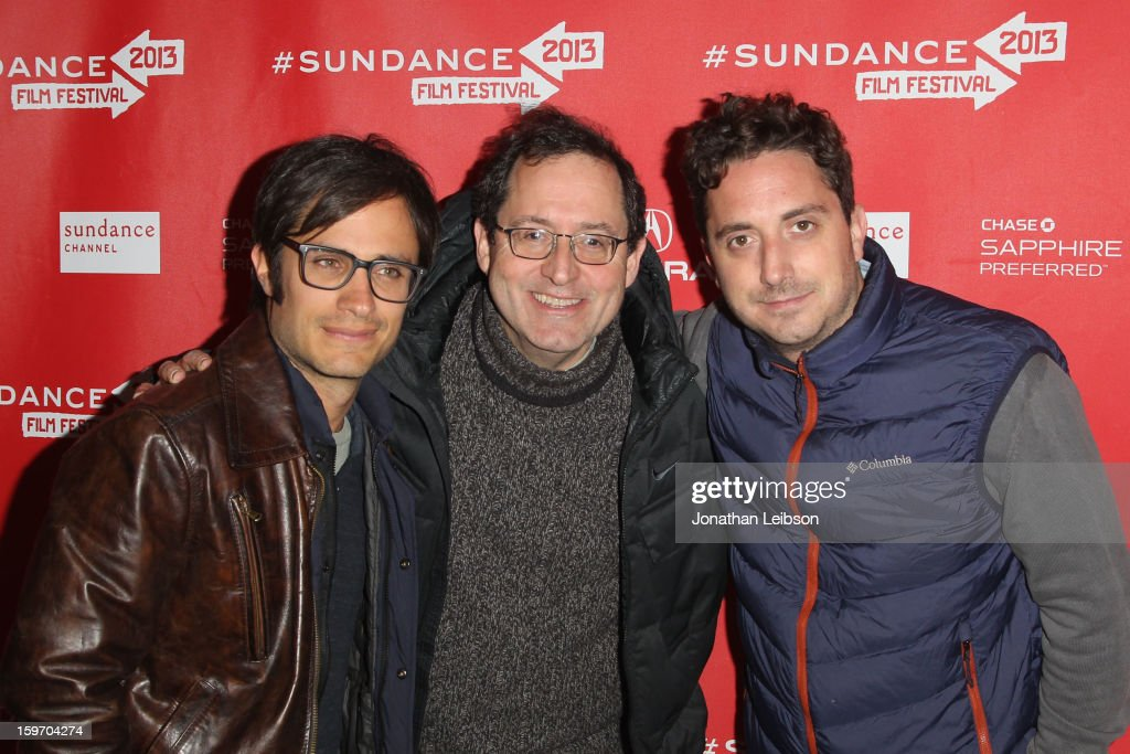 Actor Gael Garcia Bernal, Co-President and Co-Founder of Sony Pictures Classics Michael Barker and Director Pablo Larrain attend the 'No' premiere at The Marc Theatre during the 2013 Sundance Film Festival on January 18, 2013 in Park City, Utah.