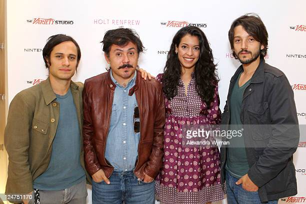 Actor Gael Garcia Bernal director Gerardo Naranjo actress Stephanie Sigman and actor Diego Luna attend day 3 of The Variety Studio Presented by...