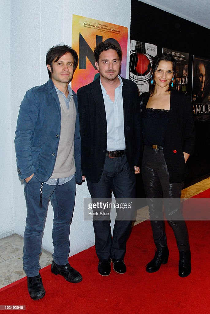 Actor <a gi-track='captionPersonalityLinkClicked' href=/galleries/search?phrase=Gael+Garcia+Bernal&family=editorial&specificpeople=202025 ng-click='$event.stopPropagation()'>Gael Garcia Bernal</a>, director Pablo Larra'n and actress <a gi-track='captionPersonalityLinkClicked' href=/galleries/search?phrase=Antonia+Zegers&family=editorial&specificpeople=7173145 ng-click='$event.stopPropagation()'>Antonia Zegers</a> arrive at the Sony Pictures Classics Pre-Oscar Dinner at The London Hotel on February 23, 2013 in West Hollywood, California.