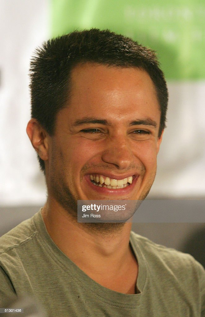 Actor Gael Garcia Bernal Laughs During A Press Conference For The Movie Motorcycle Diaries