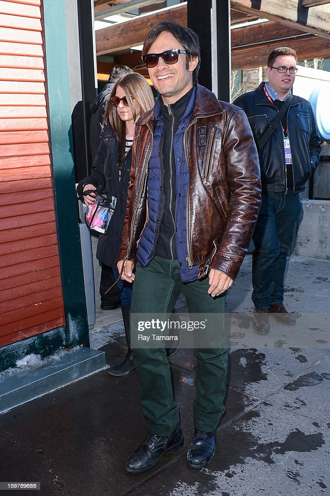 Actor Gael Garcia Bernal leaves the Nikki Beach Lounge at the Sky Lodge on January 19, 2013 in Park City, Utah.
