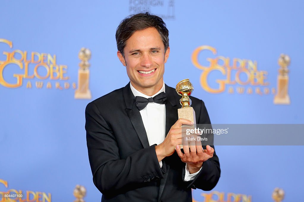 Actor Gael Garcia Bernal winner of Best Performance in a Television Series Musical or Comedy for 'Mozart in the Jungle' poses in the press room...
