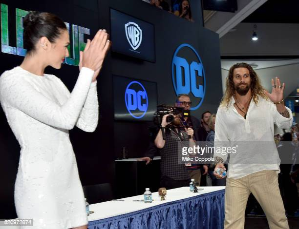 Actor Gal Gadot and Jason Momoa during the 'Justice League' autograph signing at ComicCon International 2017 at San Diego Convention Center on July...