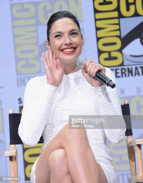 Actor Gal Gadot attends the Warner Bros Pictures 'Justice League' Presentation during ComicCon International 2017 at San Diego Convention Center on...
