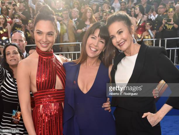 Actor Gal Gadot director Patty Jenkins and actor Lynda Carter attend the premiere of Warner Bros Pictures' 'Wonder Woman' at the Pantages Theatre on...