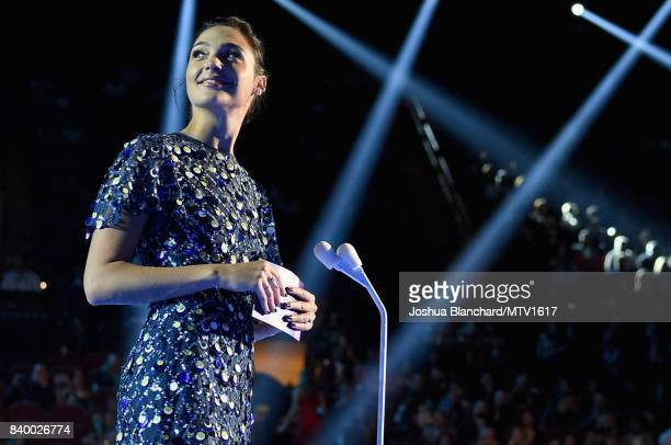 Actor Gal Gadot speaks on stage during the 2017 MTV Video Music Awards at The Forum on August 27 2017 in Inglewood California