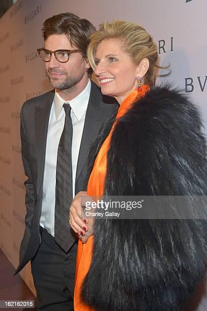 Actor Gale Harold and EVP of BVLGARI Sabina Belli arrive at the BVLGARI celebration of Elizabeth Taylor's collection of BVLGARI jewelry at BVLGARI...