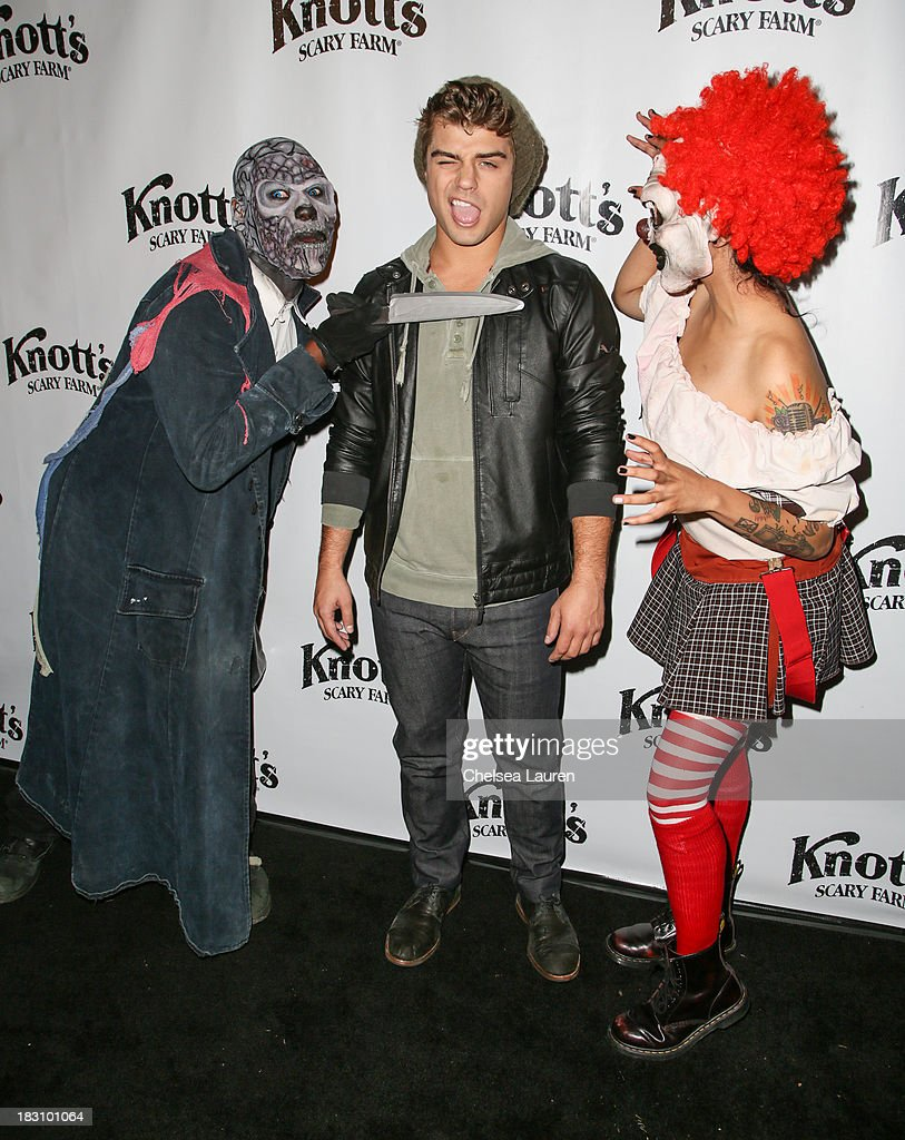Actor <a gi-track='captionPersonalityLinkClicked' href=/galleries/search?phrase=Garrett+Clayton&family=editorial&specificpeople=9767833 ng-click='$event.stopPropagation()'>Garrett Clayton</a> attends the Knott's Scary Farm 'Haunt' VIP Opening Night Party at Knott's Berry Farm on October 3, 2013 in Buena Park, California.