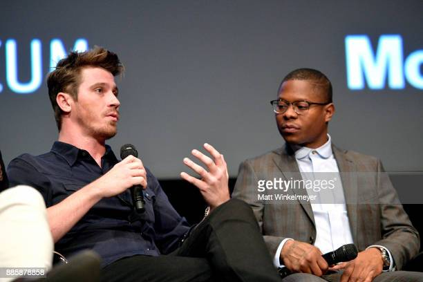 Actor Garrett Hedlund and Jason Mitchell speak onstage during the Hammer Museum presents The Contenders 2017 'Mudbound' at Hammer Museum on December...
