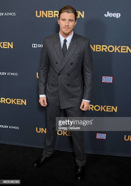 Actor Garrett Hedlund arrives at the Los Angeles premiere of 'Unbroken' at The Dolby Theatre on December 15 2014 in Hollywood California