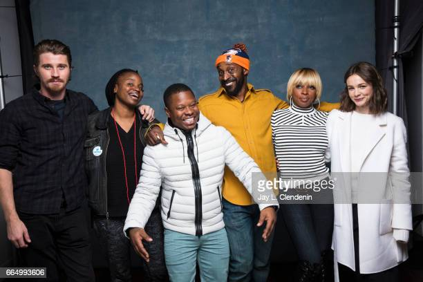 Actor Garrett Hedlund director Dee Rees actor Rob Morgan musician Mary J Blige and actress Cary Mulligan from the film 'Mudbound' are photographed at...