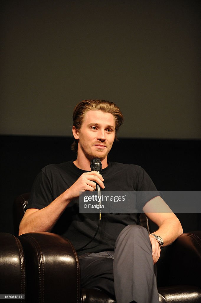 Actor <a gi-track='captionPersonalityLinkClicked' href=/galleries/search?phrase=Garrett+Hedlund&family=editorial&specificpeople=2290407 ng-click='$event.stopPropagation()'>Garrett Hedlund</a> speaks during the 'On the Road' Vanity Fair Screening presented by Hugo Boss at Skywalker Ranch on December 7, 2012 in San Francisco, California.