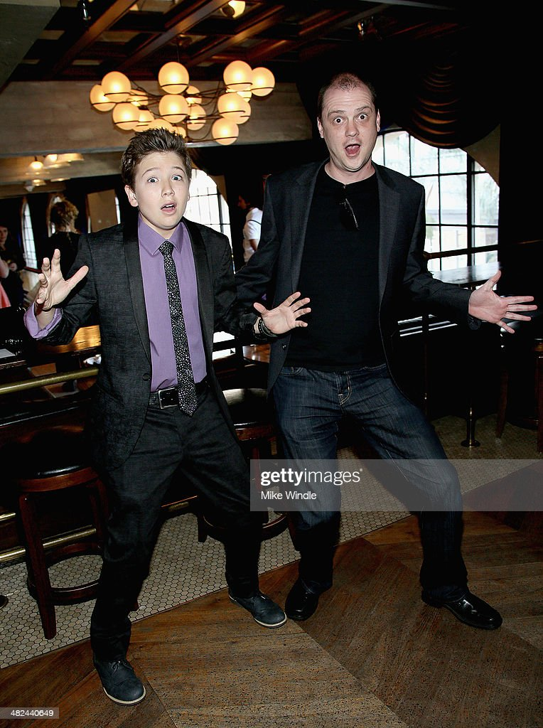 Actor Garrett Ryan and director Mike Flanagan attend the prereception for the screening of Relativity Media's 'Oculus' at The Roosevelt Hotel on...
