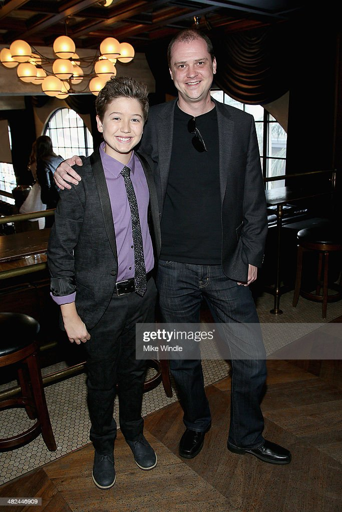 Actor Garrett Ryan (L) and director <a gi-track='captionPersonalityLinkClicked' href=/galleries/search?phrase=Mike+Flanagan&family=editorial&specificpeople=224999 ng-click='$event.stopPropagation()'>Mike Flanagan</a> attend the pre-reception for the screening of Relativity Media's 'Oculus' at The Roosevelt Hotel on April 3, 2014 in Hollywood, California.