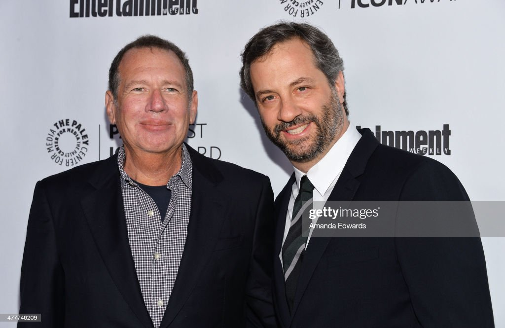 Actor <a gi-track='captionPersonalityLinkClicked' href=/galleries/search?phrase=Garry+Shandling&family=editorial&specificpeople=220833 ng-click='$event.stopPropagation()'>Garry Shandling</a> (L) and director <a gi-track='captionPersonalityLinkClicked' href=/galleries/search?phrase=Judd+Apatow&family=editorial&specificpeople=854225 ng-click='$event.stopPropagation()'>Judd Apatow</a> arrive at the 2014 Paleyfest Icon Award ceremony honoring <a gi-track='captionPersonalityLinkClicked' href=/galleries/search?phrase=Judd+Apatow&family=editorial&specificpeople=854225 ng-click='$event.stopPropagation()'>Judd Apatow</a> at The Paley Center for Media on March 10, 2014 in Beverly Hills, California.