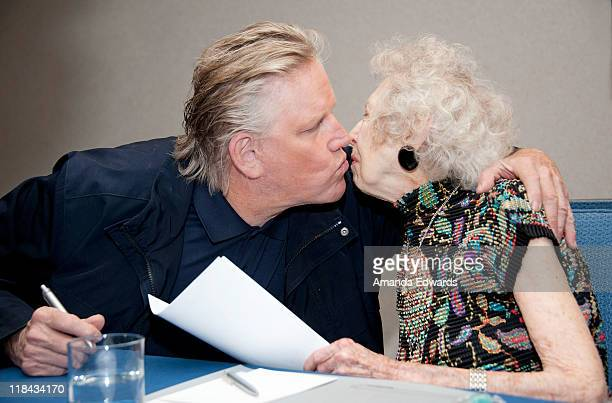 Actor Gary Busey and actress Carla Laemmle attend the 'Mansion of Blood' press conference at the Renaissance Hollywood Hotel on July 7 2011 in...