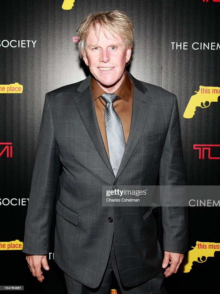 Actor <a gi-track='captionPersonalityLinkClicked' href=/galleries/search?phrase=Gary+Busey&family=editorial&specificpeople=206115 ng-click='$event.stopPropagation()'>Gary Busey</a> attends the Weinstein Company, The Cinema Society & Tumi screening of 'This Must Be the Place' at the Tribeca Grand Screening Room on October 25, 2012 in New York City.