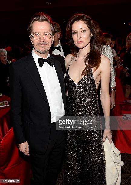 Actor Gary Oldman and Alexandra Edenborough attend the 25th annual Palm Springs International Film Festival awards gala at Palm Springs Convention...