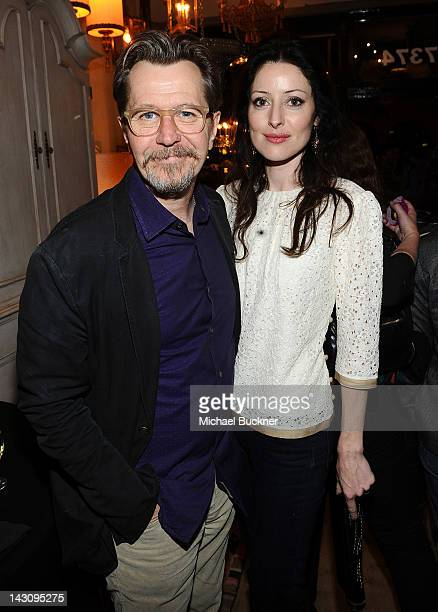 Actor Gary Oldman and Alexandra Edenborough attends the Launch Party for Kishani Perera's new book 'Vintage Remix' at Rummage on April 18 2012 in Los...
