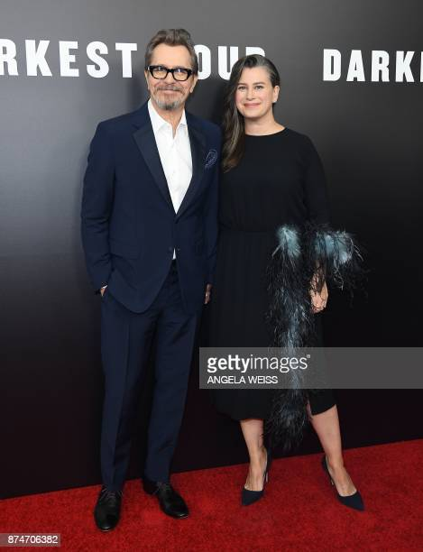Actor Gary Oldman and his wife Gisele Schmidt attend Focus Features' 'Darkest Hour' New York premiere at The Paris Theatre on November 15 2017 in New...