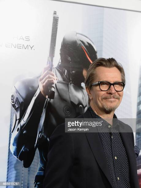 Actor Gary Oldman attends the premiere of Columbia Pictures' 'Robocop' on February 10 2014 in Hollywood California